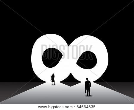 Nicely Dressed Silhouette Business Man & Woman Standing Front Of Infinite Infinity Door