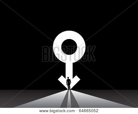 Business Man Silhouette Stand Front Of Big Male Symbol Door