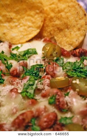 Mexican Food - Chili Beans With Nachos - Detail
