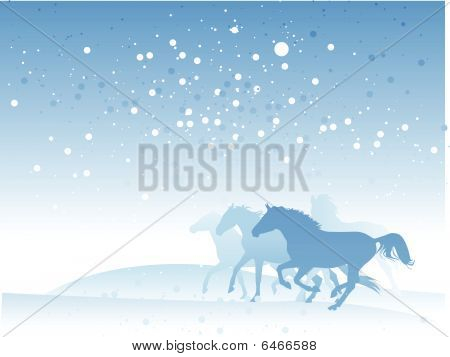 winter horses (vector)