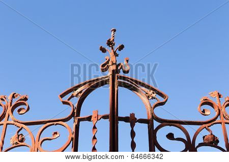 Old Wrought Iron Gate with blue sky, Tangier