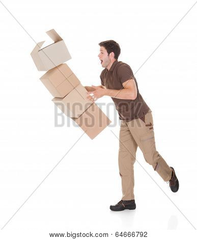 Delivery Man Dropping Boxes