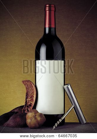 Bottle Of Red Wine Still Life With Warm Background