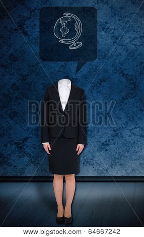 Composite image of headless businesswoman with globe in speech bubble against dark grimy room