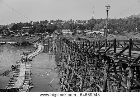 The old wooden bridge Bridge collapse Bridge across the river and Wood bridge  Mon bridge  at sangkl