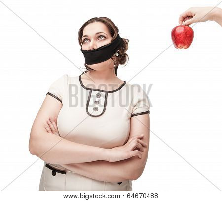 Plus Size Woman Gagged Refusing Healthy Food