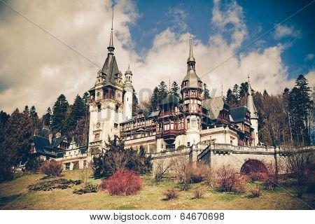 View Of Peles Castle, Sinaia Romania, Vintage Coaster