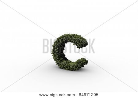 Lower case letter c made of leaves on white background