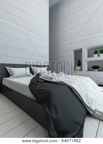 Picture of white bedroom interior with bed and alcove