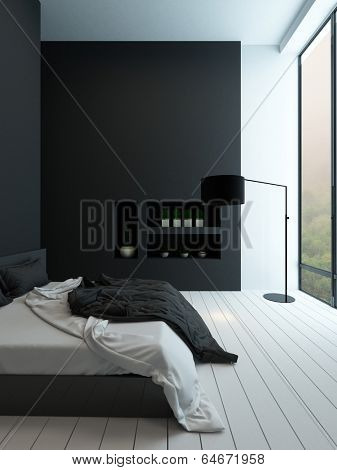 Picture of contemporary black and white bedroom interior