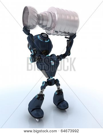 3D Render of an Android ice hockey champion
