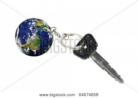Key with Earth as a keyring (part of the picture provided by NASA  http://earthobservatory.nasa.gov)