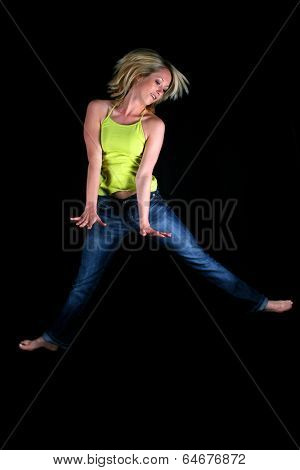 Atractive girl in front of black background