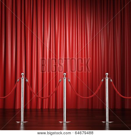 red rope barrier with a curtain