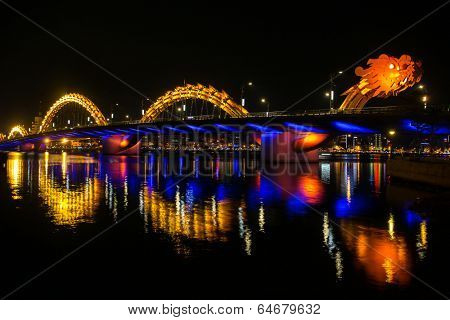 Dragon River Bridge ( Rong Bridge) in Da Nang, Vietnam