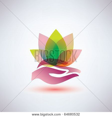 Hands Holding A Lotus Flower Icon, Yoga And Meditation Concept