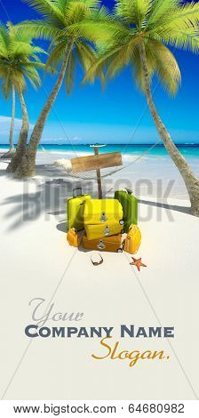 Yellow luggage, hanging hammock,  blank wooden sign and thongs on a tropical beach
