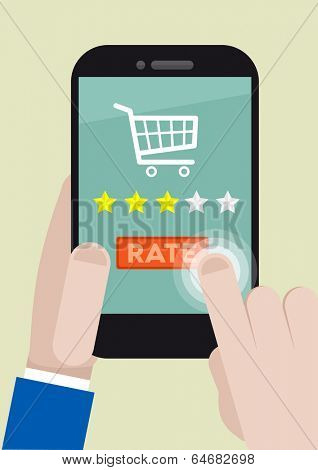 minimalistic illustration of a shopping rating system on a mobile phone, eps10 vector