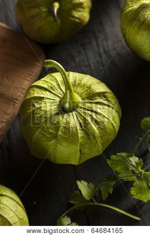 Group Of Organic Green Tomatillos