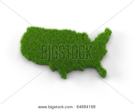 USA map made of grass