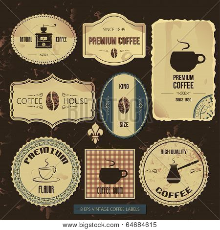 premium coffee vintage labels