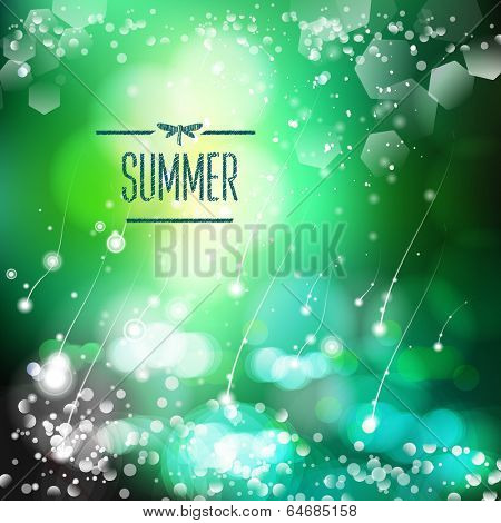 Spring and summer watercolor nature background with shining sparks and bokeh. Vector Illustration, Graphic Design Editable For Your Design.