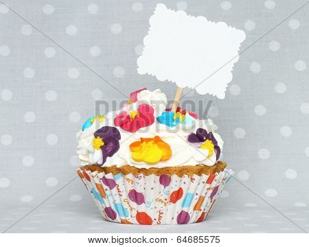 Cupcake with blank card