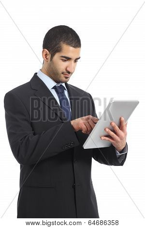 Arab Business Man Working Using A Tablet