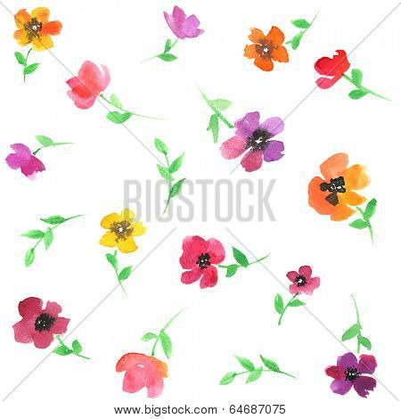Watercolor seamless flower pattern.