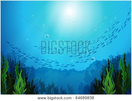 Illustration of the school of fishes under the sea