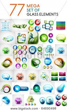 Mega set of glass abstract shapes design elements for business backgrounds | banners | business templates | graphic website layout
