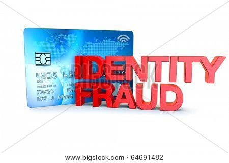 the words identity fraud witha generic credit card on a white background