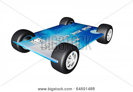 credit card with wheels on a white background