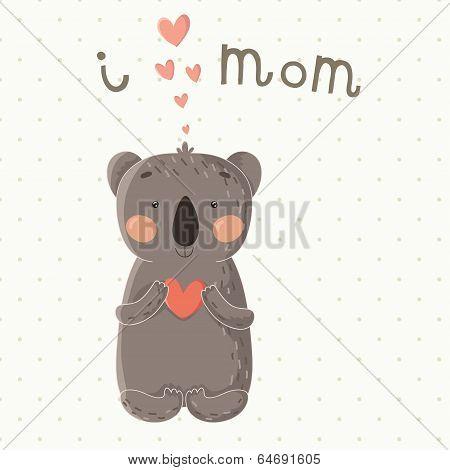 Cute card with little cartoon koala