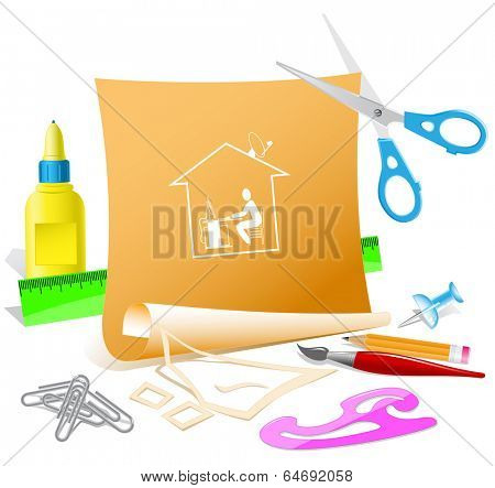 Home work. Paper template. Vector illustration.