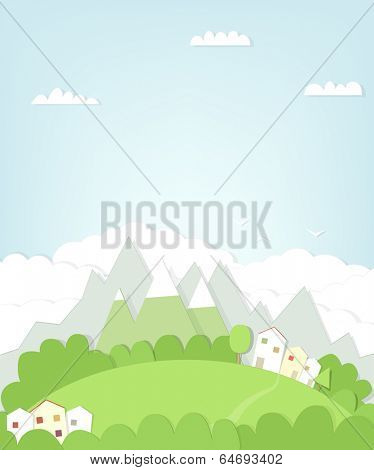 cutout mountain landscape with house