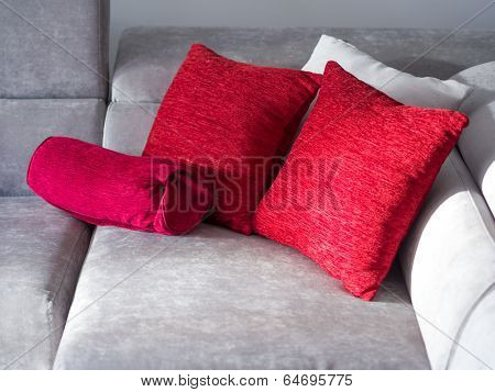 Throw pillows on couch isolated on white