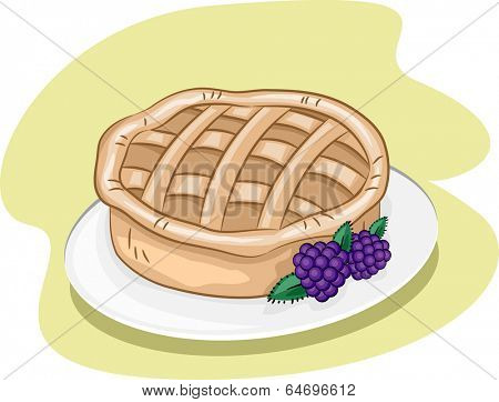 Illustration Featuring a Pie and Some Blackberries on a Plate