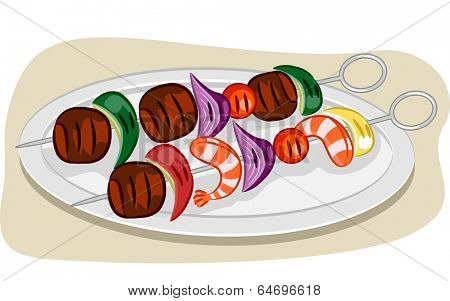 Illustration Featuring a Pair of Kebabs on a Plate