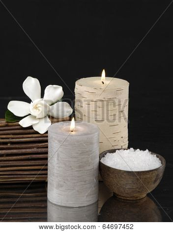 Spa feeling with white Gardenia and white candle, salt in bowl