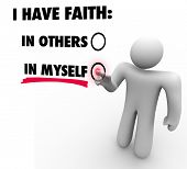 foto of self-confident  - I Have Faith in Myself vs Others Choose Self Reliance Confidence - JPG