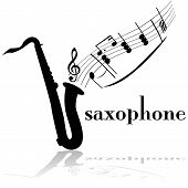 stock photo of saxophones  - Concept illustration showing a saxophone with musical notes floating out of it - JPG