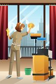 foto of janitor  - A vector illustration of hotel janitor cleaning the window with mop - JPG