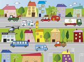 picture of ice-cream truck  - Illustration of city with building and transportations - JPG