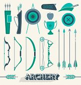 image of archery  - Collection of retro style archery icons and equipment - JPG