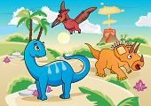 stock photo of apatosaurus  - Cartoon dinosaurs - JPG