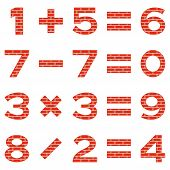 stock photo of subtraction  - Set of numbers and signs in mathematical equations - JPG