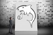 foto of loan-shark  - Composite image of thinking businessman against white card - JPG
