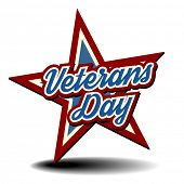 foto of veterans  - detailed illustration of a patriotic star with Veterans Day text - JPG