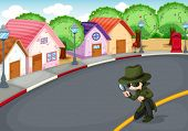 picture of crime solving  - Illustration of a detective at the road - JPG